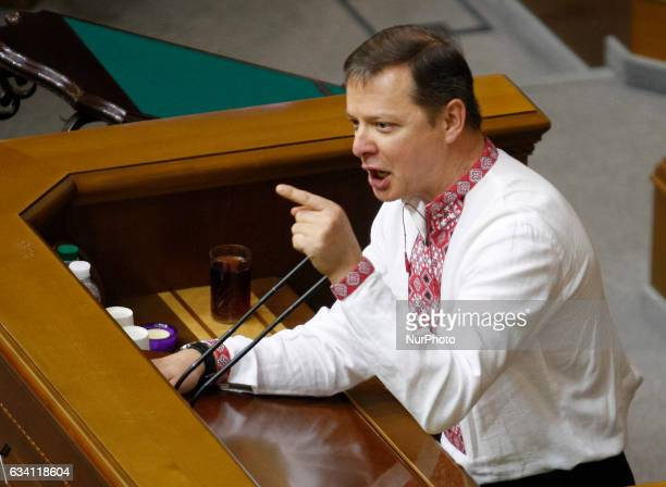 Leader of the quotRadical Partyquot Oleh Lyashko speaksduring the Ukrainian Parliament session in Kiev Ukraine 07 February 2017 The fighting between...