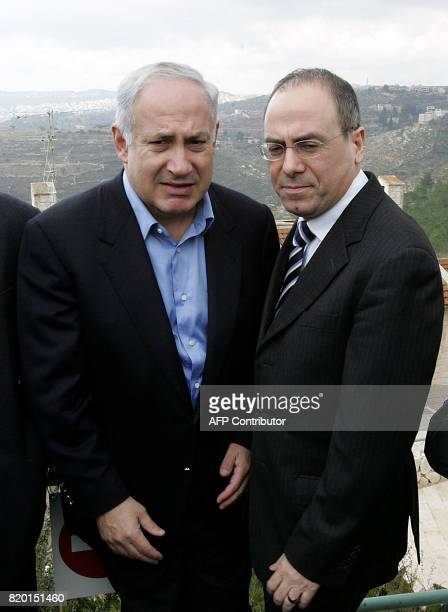 Leader of the rightwing Israeli Likud party Benjamin Netanyahu and his number two Silvan Shalom are seen during a visit to the area of the West Bank...