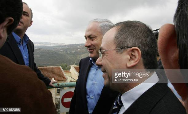 Leader of the rightwing Israeli Likud party Benjamin Netanyahu and his number two Silvan Shalom a visit to the area of the West Bank village of Beit...