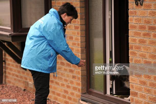 Leader of the Scottish Conservatives Ruth Davidson speaks to a dog as she campaigns on the Dickies Wells housing estate Alva Clackmannanshire in the...