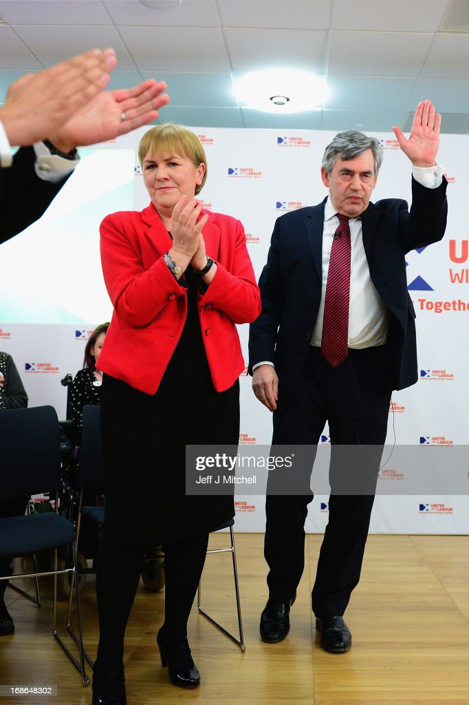 Leader of the Scottish Labour party Johann Lamont and Former British Prime Minister <a gi-track='captionPersonalityLinkClicked' href=/galleries/search?phrase=Gordon+Brown&family=editorial&specificpeople=158992 ng-click='$event.stopPropagation()'>Gordon Brown</a> attend the Scottish Labour launch to keep Scotland as part of the UK on May 13, 2013 in Glasgow, Scotland. The party launched its 'United with Labour' campaign today which it says offers the people of Scotland a ''different view ''on the country's future.