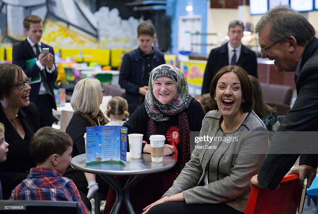 Leader of the Scottish Labour Party Kezia Dugdale laughs as she visits a soft play on May 3, 2016 in Glasgow, Scotland. As campaigning for the Holyrood election enters its last forty eight hours, recent polls suggest the Conservatives are virtually neck-and-neck with Labour in the race to be the main opposition party in Scotland.