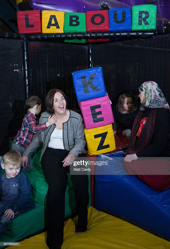 Leader of the Scottish Labour Party Kezia Dugdale poses for a photograph as she visits a soft play on May 3, 2016 in Glasgow, Scotland. As campaigning for the Holyrood election enters its last forty eight hours, recent polls suggest the Conservatives are virtually neck-and-neck with Labour in the race to be the main opposition party in Scotland.