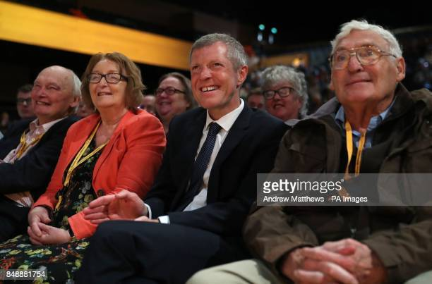 Leader of the Scottish Liberal Democrats Willie Rennie listens to a speech by Tim Farron MP at the Liberal Democrats conference at the Bournemouth...