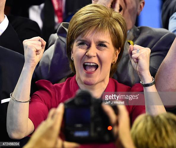 Leader of the SNP Nicola Sturgeon celebrates during the Glasgow declarations on May 8 2015 in Glasgow Scotland The United Kingdom has gone to the...