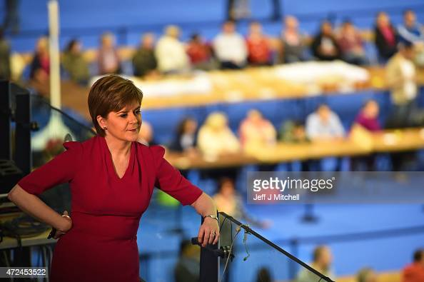 Leader of the SNP Nicola Sturgeon looks on during the Glasgow declarations on May 8 2015 in Glasgow Scotland The United Kingdom has gone to the polls...
