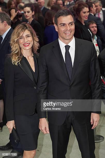 Leader of the Socialist Party Pedro Sanchez and wife Begona Gomez attend 'Ortega Y Gasset' journalism awards 2016 at Palacio de Cibeles on May 05...