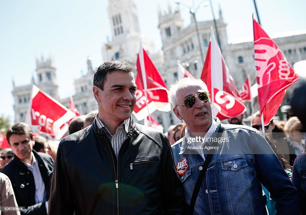 Leader of the Socialist Party (PSOE) Pedro Sanchez (L) and workers, organized by labor unions and other labor organization take part in a rally to mark May Day, International Workers' Day in Madrid, Spain on May 01, 2016. Every year May Day is observed and commemorated as an official holiday all around Spain.