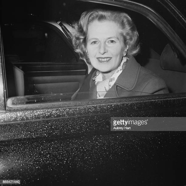Leader of the UK Conservative Party Margaret Thatcher smiles from inside a car 13th April 1978