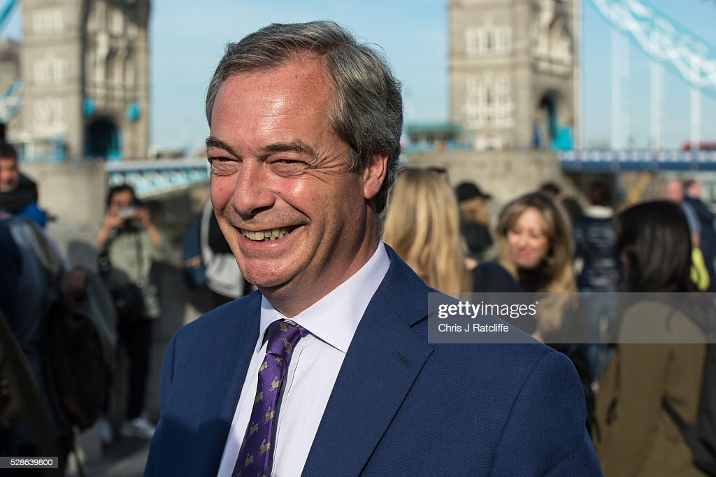 Leader of the UK Independence Party (UKIP) Nigel Farage arrives at City Hall for the announcement of the results of the London Mayoral election race on May 06, 2016 in London, England. This is the fifth mayoral election since the position was created in 2000. Previous London Mayors are Ken Livingstone for Labour and more recently Boris Johnson for the Conservatives. The main candidates for 2016 are Sadiq Khan, Labour, Zac Goldsmith, Conservative, Suan Berry, Green, Caroline Pidgeon, Liberal Democrat, George Galloway, Respect, Peter Whittle, UKIP and Sophie Walker, Women's Equality Party.