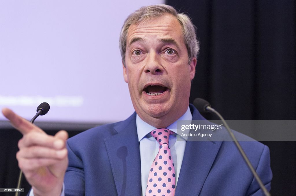 Leader of the UKIP Nigel Farage makes a speech on the EU referendum in London, United Kingdom on April 29, 2016.