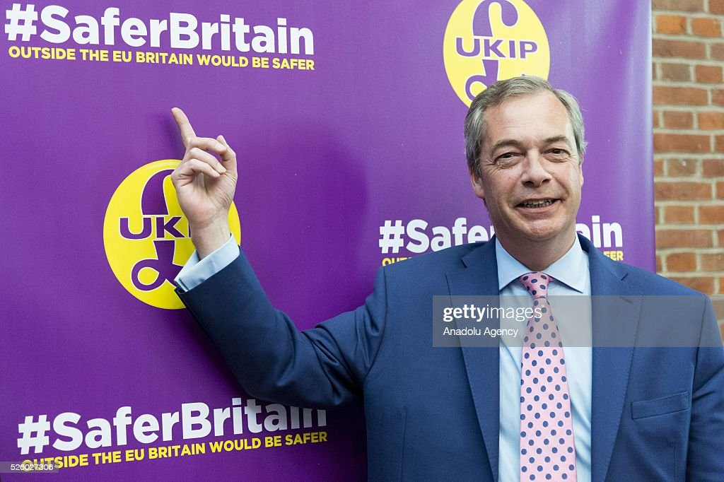 Leader of the UKIP Nigel Farage poses before his speech on the EU referendum in London, United Kingdom on April 29, 2016.
