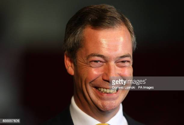 Leader of the United Kingdom Independence Party Nigel Farage at the count for the European Parliamentary Election in the south east at Saint Mary's...