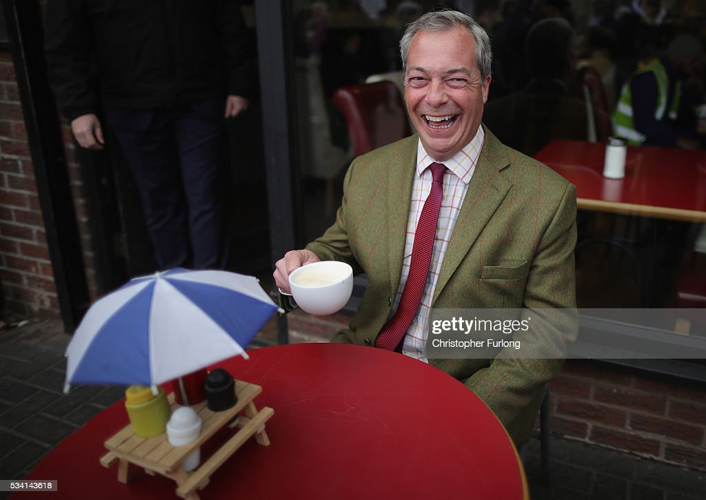 Leader of the United Kingdom Independence Party (UKIP), <a gi-track='captionPersonalityLinkClicked' href=/galleries/search?phrase=Nigel+Farage&family=editorial&specificpeople=697991 ng-click='$event.stopPropagation()'>Nigel Farage</a> drinks coffee outside a cafe during campaigning for votes to leave the European Union on May 25, 2016 near Sheffield, England. <a gi-track='captionPersonalityLinkClicked' href=/galleries/search?phrase=Nigel+Farage&family=editorial&specificpeople=697991 ng-click='$event.stopPropagation()'>Nigel Farage</a> took his battle bus to Chapeltown, near Sheffield, encouraging British people to vote to leave the EU in the June 23rd referendum.