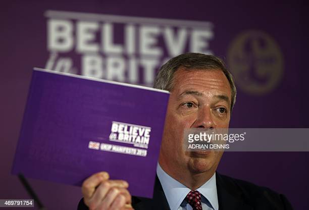 Leader of the United Kingdom Independence Party Nigel Farage speaks during the launch of the party manifesto in Thurrock in Essex East of London on...