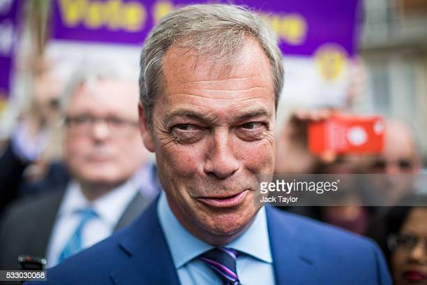 Leader of the United Kingdom Independence Party Nigel Farage speaks to media outside Europe House in Westminster on May 20 2016 in London England The...