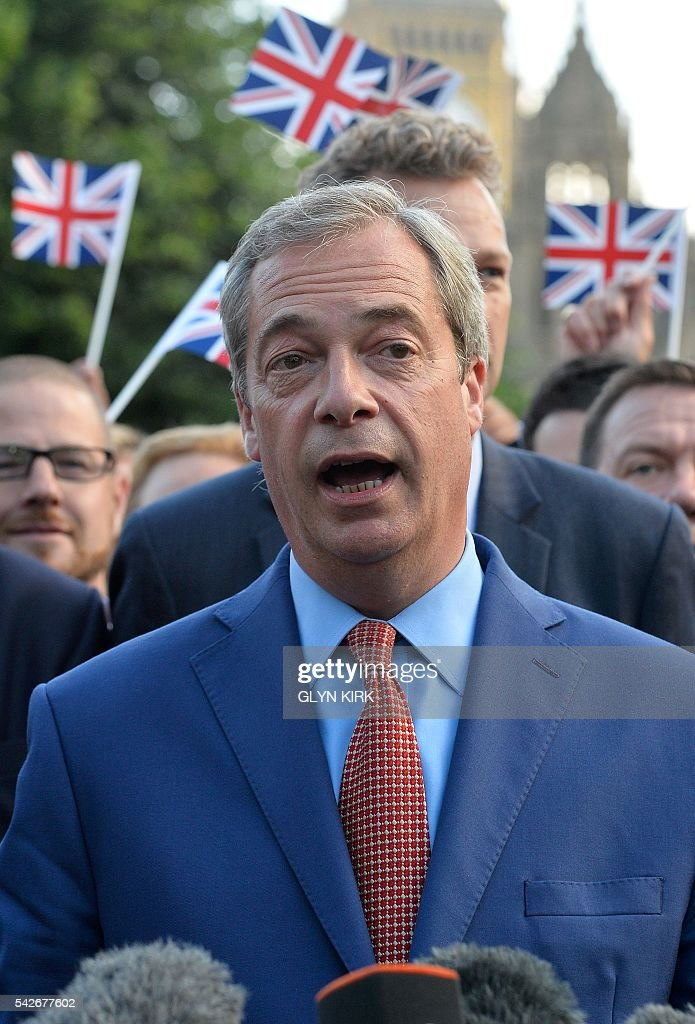 Leader of the United Kingdom Independence Party (UKIP), Nigel Farage speaks during a press conference near the Houses of Parliament in central London on June 24, 2016. Britain has voted to leave the European Union by 51.9 percent to 48.1 percent, final results from all 382 of Britain's local counting centres showed on Friday. / AFP / GLYN
