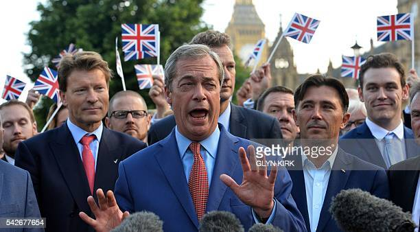 Leader of the United Kingdom Independence Party Nigel Farage speaks during a press conference near the Houses of Parliament in central London on June...