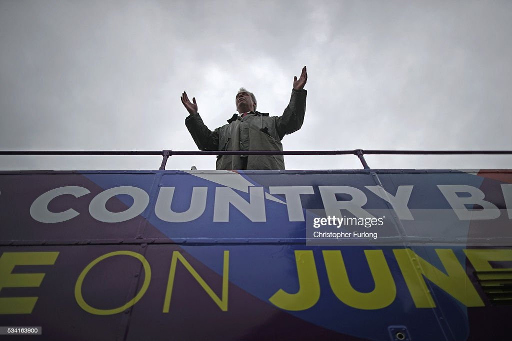 Leader of the United Kingdom Independence Party (UKIP), Nigel Farage talks to supporters as he campaigns for votes to leave the European Union in the referendum on May 25, 2016 in Bolton, England. Nigel Farage took his battle bus to Bolton encouraging British people to vote to leave the EU on 23rd June 2016.