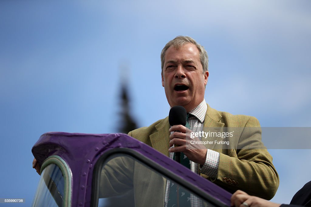 Leader of the United Kingdom Independence Party (UKIP), Nigel Farage talks to supporters and market traders in Birmingham Rag Market during campaigning for votes to leave the European Union in the referendum on May 31, 2016 in Birmingham, England. With 23 days to go until the EU referendum Nigel Farage took his battle bus to Birmingham encouraging British people to vote to leave the EU on 23rd June 2016.