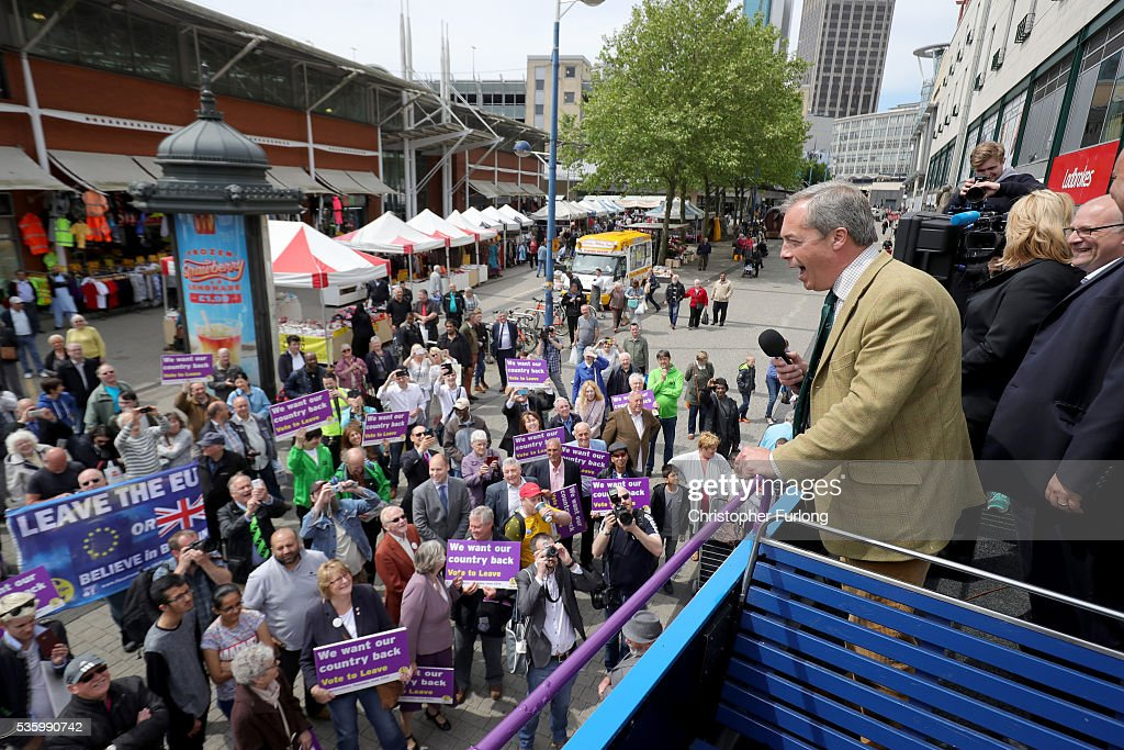 Leader of the United Kingdom Independence Party (UKIP), Nigel Farage talks to supporters and market traders in Birmingham Rag Market during campaigning for votes to leave the European Union in the referendum on May 31, 2016 in Birmingham, England. With 23 days to go until the EU referendum, Nigel Farage took his battle bus to Birmingham encouraging British people to vote to leave the EU on 23rd June 2016.