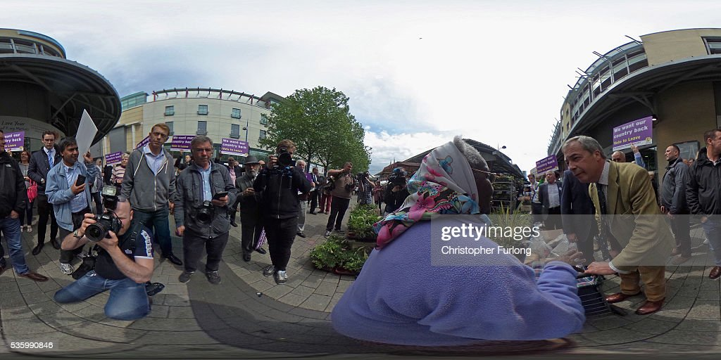 Leader of the United Kingdom Independence Party (UKIP), Nigel Farage talks to supporters in Birmingham Rag Market during campaigning for votes to leave the European Union in the referendum on May 31, 2016 in Birmingham, England. With 23 days to go until the EU referendum, Nigel Farage took his battle bus to Birmingham encouraging British people to vote to leave the EU on 23rd June 2016.
