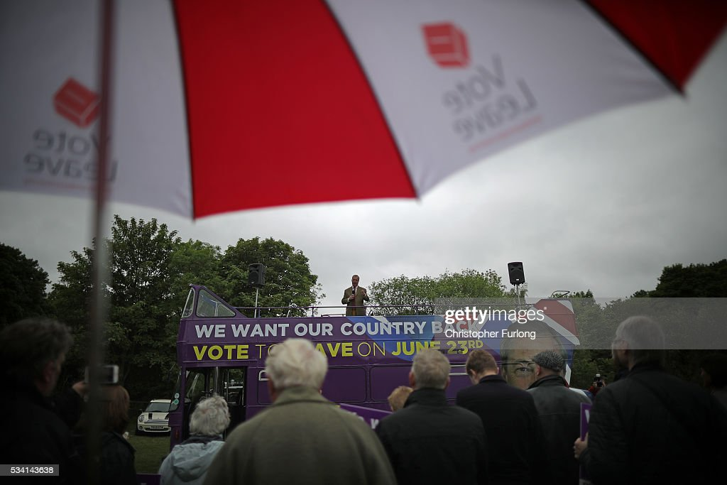Leader of the United Kingdom Independence Party (UKIP), <a gi-track='captionPersonalityLinkClicked' href=/galleries/search?phrase=Nigel+Farage&family=editorial&specificpeople=697991 ng-click='$event.stopPropagation()'>Nigel Farage</a> travels on his battle bus as he campaigns for votes to leave the European Union on May 25, 2016 near Sheffield, England. <a gi-track='captionPersonalityLinkClicked' href=/galleries/search?phrase=Nigel+Farage&family=editorial&specificpeople=697991 ng-click='$event.stopPropagation()'>Nigel Farage</a> took his battle bus to Chapeltown, near Sheffield, encouraging British people to vote to leave the EU in the June 23rd referendum.