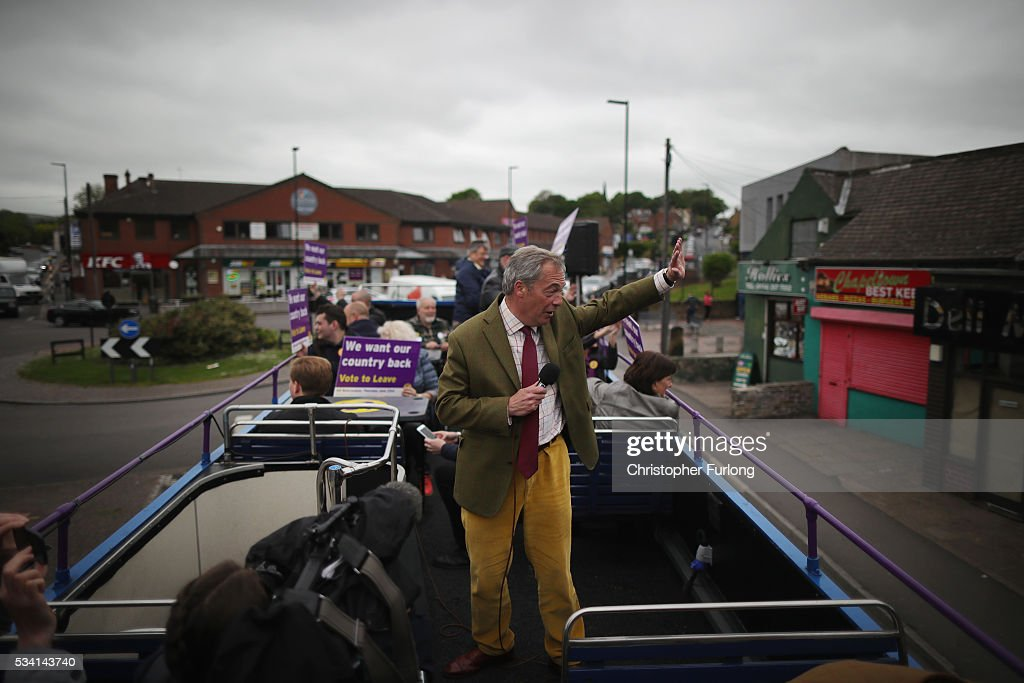 Leader of the United Kingdom Independence Party (UKIP), Nigel Farage travels on his battle bus as he campaigns for votes to leave the European Union on May 25, 2016 near Sheffield, England. Nigel Farage took his battle bus to Chapeltown, near Sheffield, encouraging British people to vote to leave the EU in the June 23rd referendum.