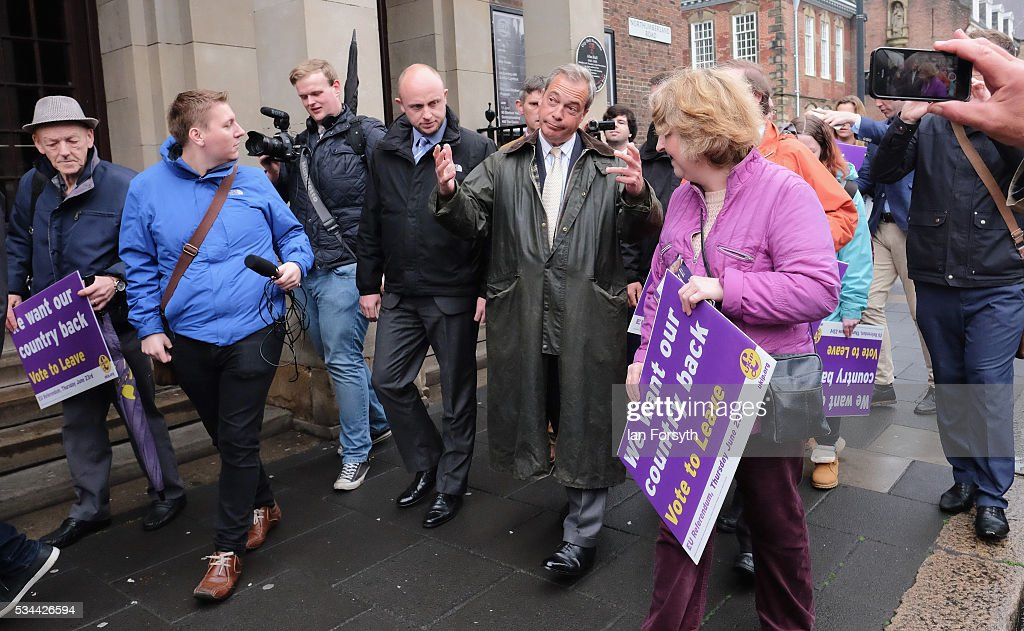 Leader of the United Kingdom Independence Party (UKIP), Nigel Farage walks through Newcastle city centre as he campaigns for votes to leave the European Union on May 26, 2016 in Newcastle Upon Tyne, England. Mr Farage arrived at St Mary's Place in the city to encourage British people to vote to leave the EU in the June 23rd referendum.