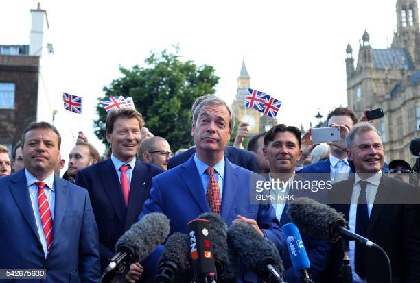 TOPSHOT Leader of the United Kingdom Independence Party Nigel Farage speaks during a press conference near the Houses of Parliament in central London...
