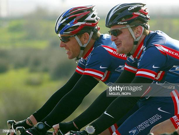 Leader of the US Postal Service Team US Lance Armstrong rides with his teammate Floyd Landis during the 2nd stage of the 30 th Tour of Algarve...