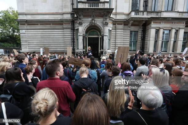 Leader of the Women's Equality Party Sophie Walker addresses demonstrators outside the embassy of Ireland on Chapel Street Belgravia London as they...
