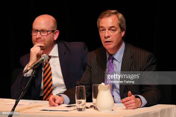 UKIP leader Paul Nuttall and former Leader Nigel Farage MEP speak during a public meeting on February 6 2017 in Stoke England The StokeonTrent...