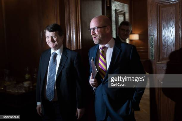 UKIP leader Paul Nuttall and UKIP Brexit spokesman Gerard Batten arrive for a press conference on March 27 2017 in London England Ahead of the Prime...
