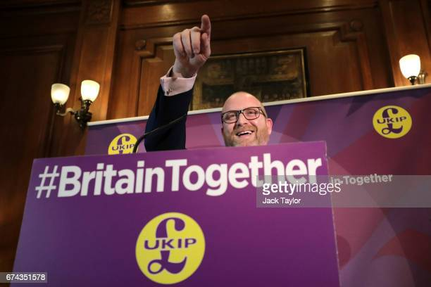 Leader Paul Nuttall gestures as he makes a speech as the party launch their general election campaign at the Marriott County Hall Hotel on April 28...