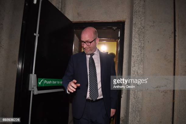 Leader Paul Nuttall leaves via a fire exit following the vote count for the constituency of Boston and Skegness on June 9 2017 in Boston England...