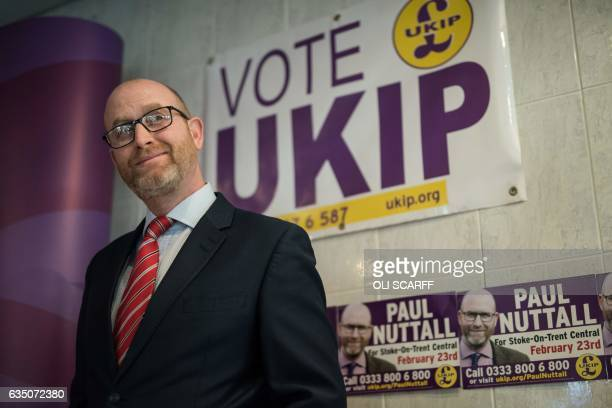 Leader Paul Nuttall prepares to address members of the media in his byelection campaign headquarters in StokeonTrent central England on February 13...
