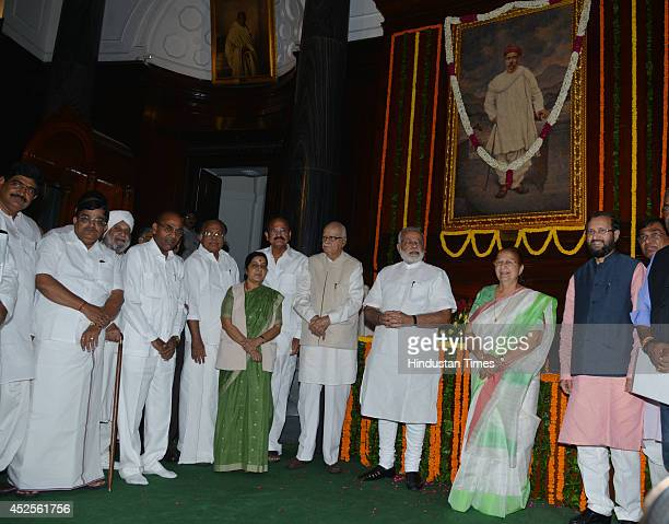 BJP leader Prakash Javdekar Lok Sabha Speaker Sumitra Mahajan Prime Minister Narendra Modi BJP leader LK Advani Urban Development Minister M Venkaiah...