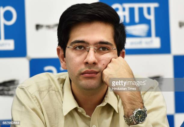 AAP leader Raghav Chadha during a press conference at AAP Office on May 14 2017 in New Delhi India Sanjay Singh slammed the BJP over what it called a...