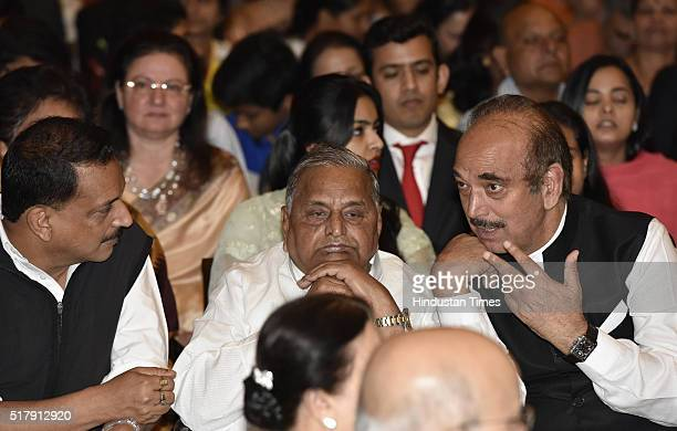 BJP leader Rajiv Pratap Rudy SP leader Mulayam Singh Yadav and Congress leader Ghulam Nabi Azad during the Padma Awards Investiture ceremony at...