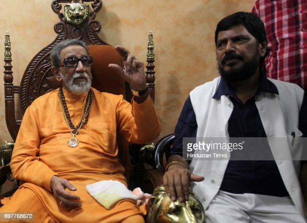 Leader Ramdas Athavale met Shiv Sena Chief Balasaheb Thackeray at his residence matoshree at Bandra in Mumbai