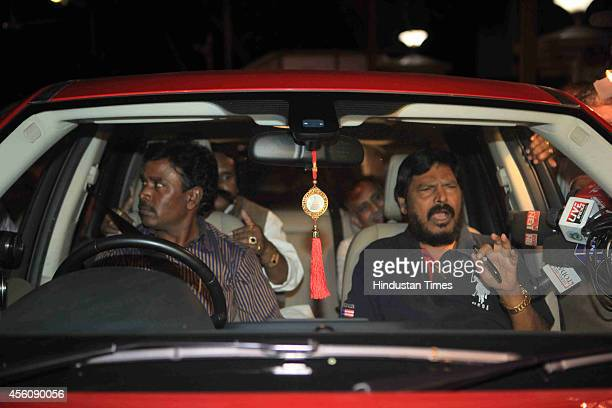 RPI leader Ramdas Athawale arrives at Matoshree after BJP ended its 25yearold alliance with the Shiv Sena after seat sharing talks failed on...