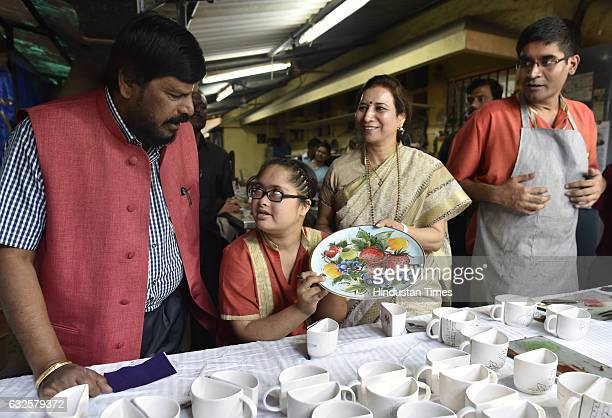 RPI leader Ramdas Athawale visited specially abled women at Om Creations Trust on the eve of national Girl Child day at Anand niketanKing Geroge...
