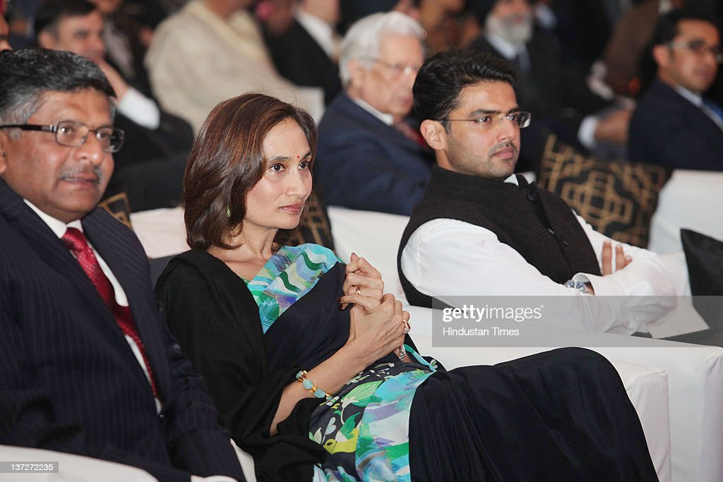 BJP leader Ravi Shankar Prasad, Hindustan Times Group Chairperson Shobhana Bhartiya and Congress MP <a gi-track='captionPersonalityLinkClicked' href=/galleries/search?phrase=Sachin+Pilot&family=editorial&specificpeople=5839798 ng-click='$event.stopPropagation()'>Sachin Pilot</a> attend the the 'Ramnath Goenka Excellence in Journalism Awards 2010-2011' on January 16, 2012 in New Delhi, India. The prestigious award is given annually to Television and Print journalists, who maintain the highest standards in their profession.