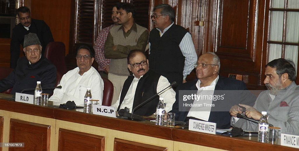 NCP Leader Sharad Pawar and Commerce Minister Anand Sharma, NCP Leader Tariq Anwar, Dr. Farooq Abdullah, Minister for New and Renewable Energy, attending all party meeting on to break the deadlock on Foreign Direct Investment issue during the Parliament winter session on November 26, 2012 in New Delhi, India. Main opposition party BJP wants debate under rule 184 which has provision of vote but government wants the speaker to decide on debate rules.