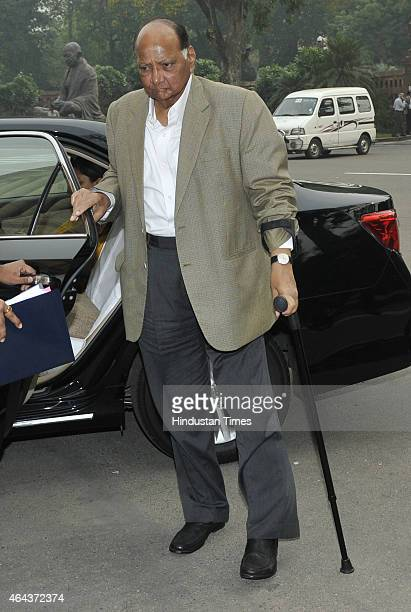 NCP leader Sharad Pawar at the Parliament House during Budget session on February 25 2015 in New Delhi India After introducing the controversial Land...