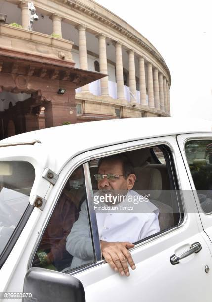 JD leader Sharad Yadav after casting his vote for Vice Presidential Election at Parliament House on August 5 2017 in New Delhi India Parliamentarians...