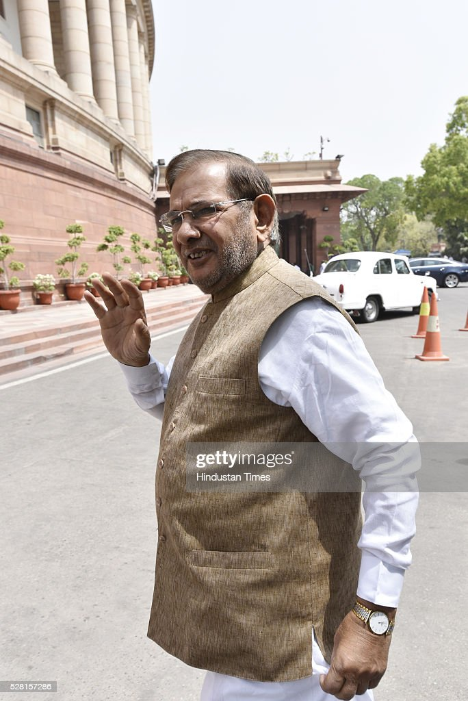 JD(U) Leader Sharad Yadav at Parliament House during parliament session on May 4, 2016 in New Delhi, India. Congress walks out of the House demanding time-bound Supreme Court-monitored CBI probe on the AgustaWestland helicopter deal.