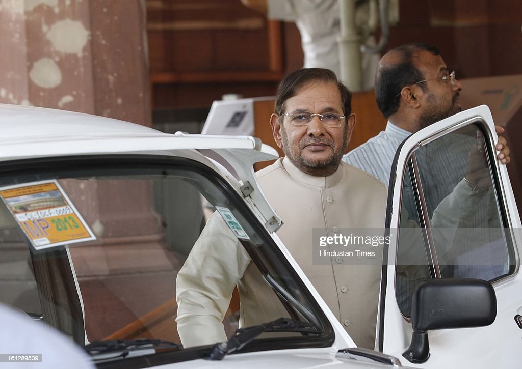 JD ( U ) Leader Sharad Yadav at Parliament house for ongoing Budget Session on March 22, 2013 in New Delhi, India. The Lok Sabha failed to transact any business for the third consecutive day as proceedings remained paralysed over the Sri Lankan Tamils issue.