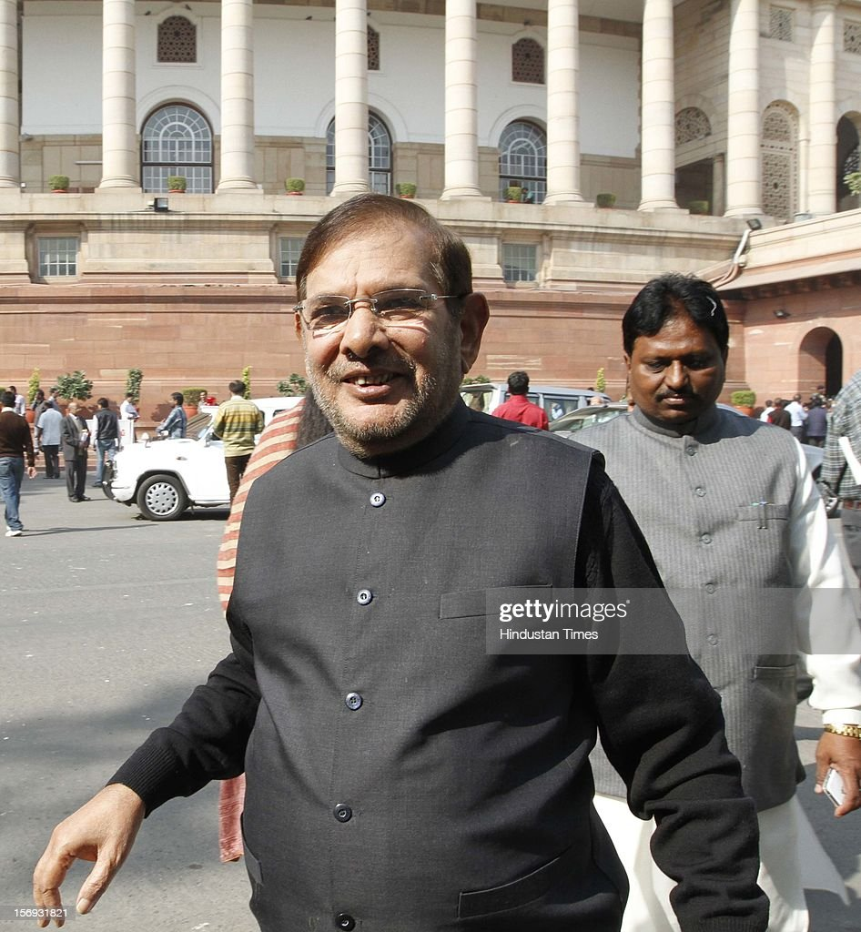 JD (U) Leader Sharad Yadav, at Parliament House on the first day of its winter session on November 22, 2012 in New Delhi, India. Parliament's winter session began on a stormy note as the issue of FDI in trade and reservation for ST/SC in promotion disrupted the Lok Sabha and Rajya Sabha.